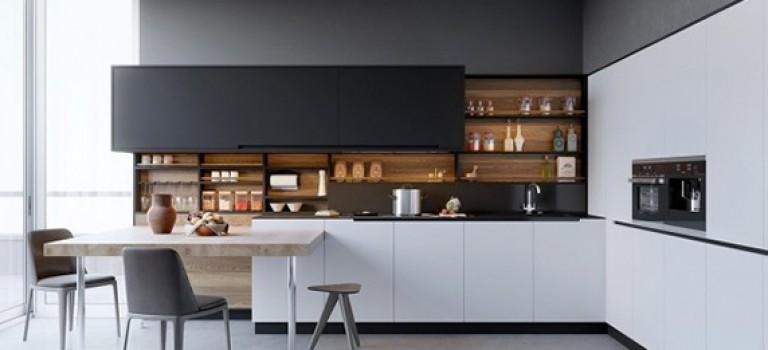 ایده هایی برای استفاده از رنگهای سیاه و سفید به همراه چوب در دکوراسیون داخلی آشپزخانه