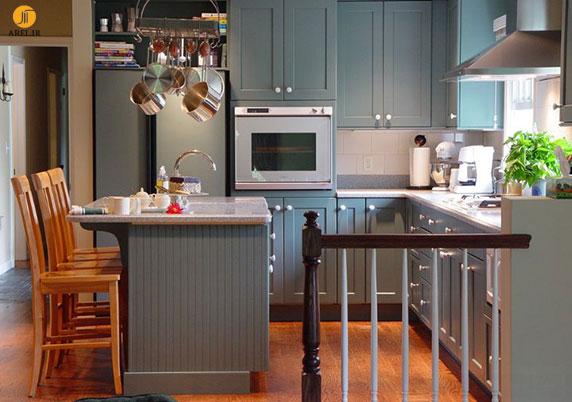 دکوراسیون داخلی آشپزخانه با کابینت های طوسی + بررسی 20 ایده