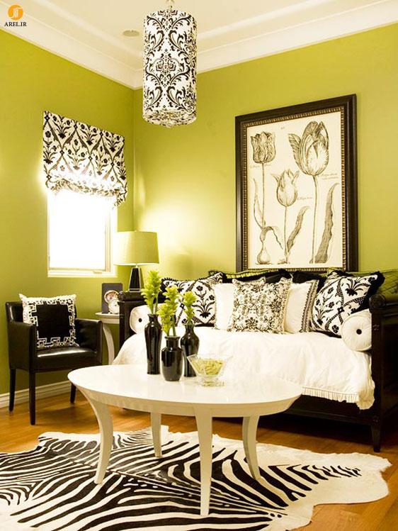 از رنگ سبز برای دکوراسیون داخلی نشیمن استفاده کنید!