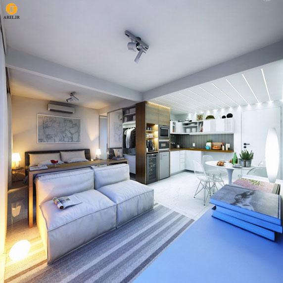 طراحی داخلی 2 آپارتمان کوچک با مساحت زیر 30 متر مربع