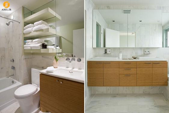 طراحی قفسه و کانتر مخصوص دکوراسیون داخلی سرویس بهداشتی های کوچک