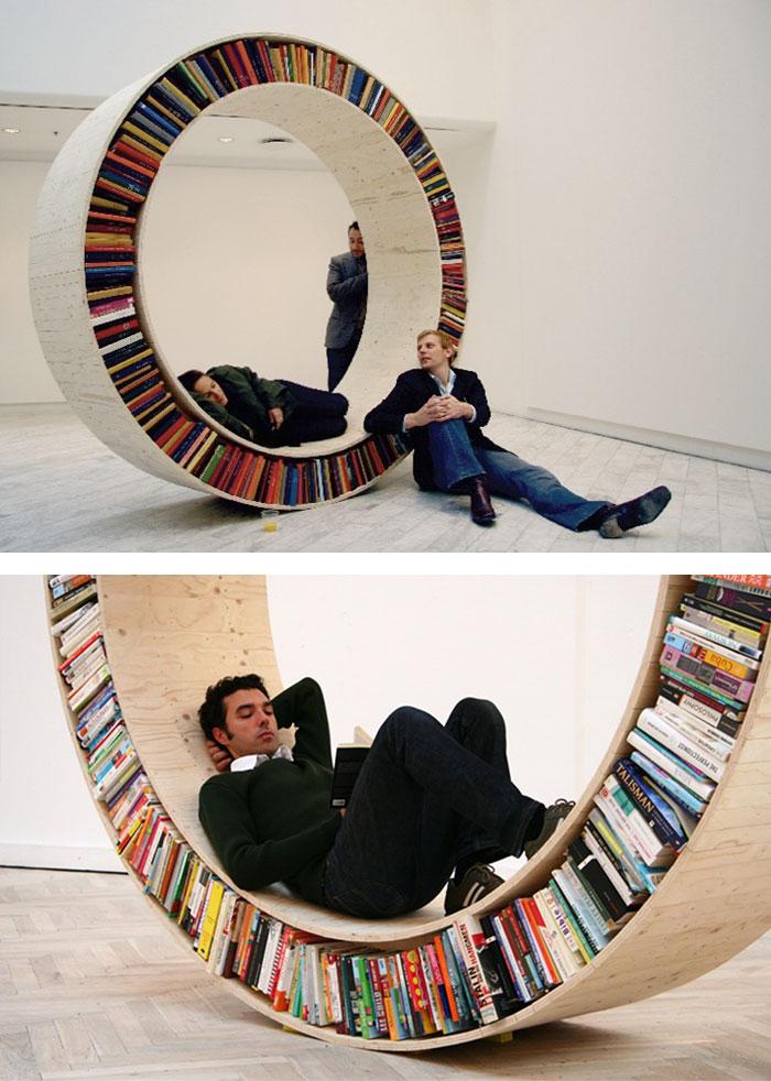 20 ایده ی خلاقانه برای طراحی قفسه ی کتاب