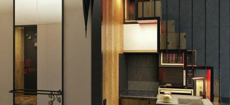 طراحی داخلی آپارتمان کوچک با مساحت ۱۸ متر مربع