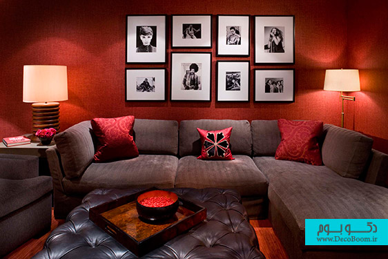 Enchanting-Red-Living-Room-Color-Ideas-with-Wall-Frame-Decorations-Completed-with-Gray-Sectional-Sofa-and-Soft-Tufted-Table-plus-Furnished-with-Table-Lamp-on-Nightstand