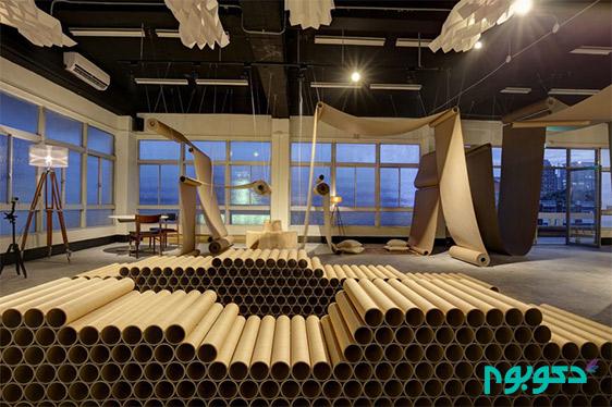 طراحی داخلی با رول های کاغذی
