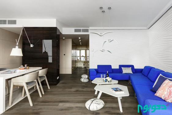طراحی آپارتمانی با تم دریایی