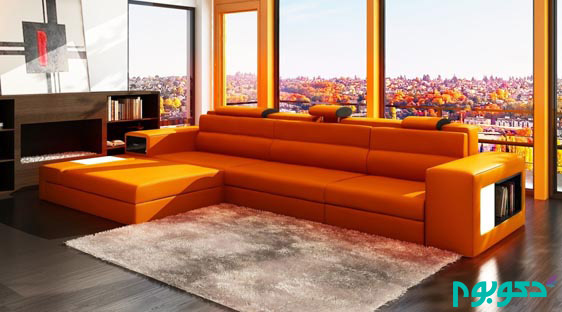 extraordinary-orange-leather-sectional-sofa-ideas-with-l-shaped-and-adjustable-headrest-also-having-side-storage-for-innovative-sunroom-living-room-interior-design-1120x622