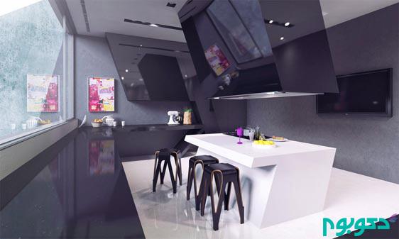 دکوراسیون داخلی 15 آشپزخانه مدرن با اشکال هندسی جالب و غیر متعارف !