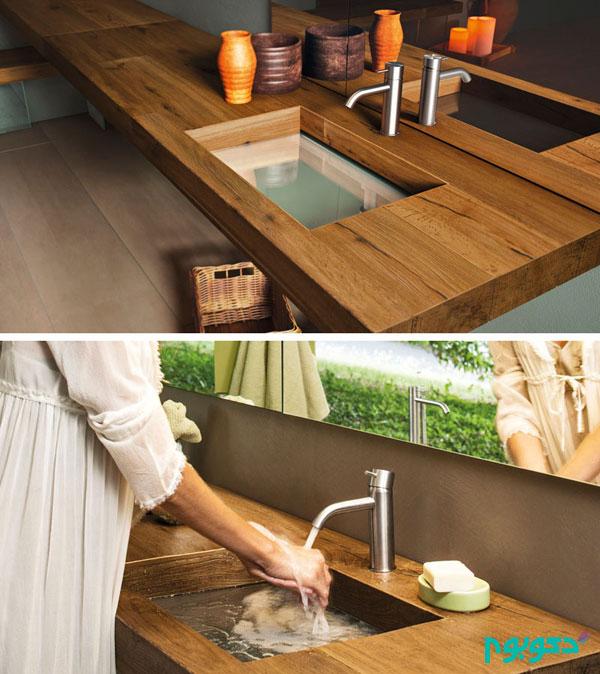 طراحی سینک دستشویی با کف شیشه ای شفاف