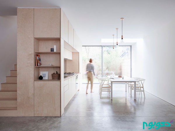 دکوراسیون آشپزخانه ای زیبا با چوب رنگ روشن