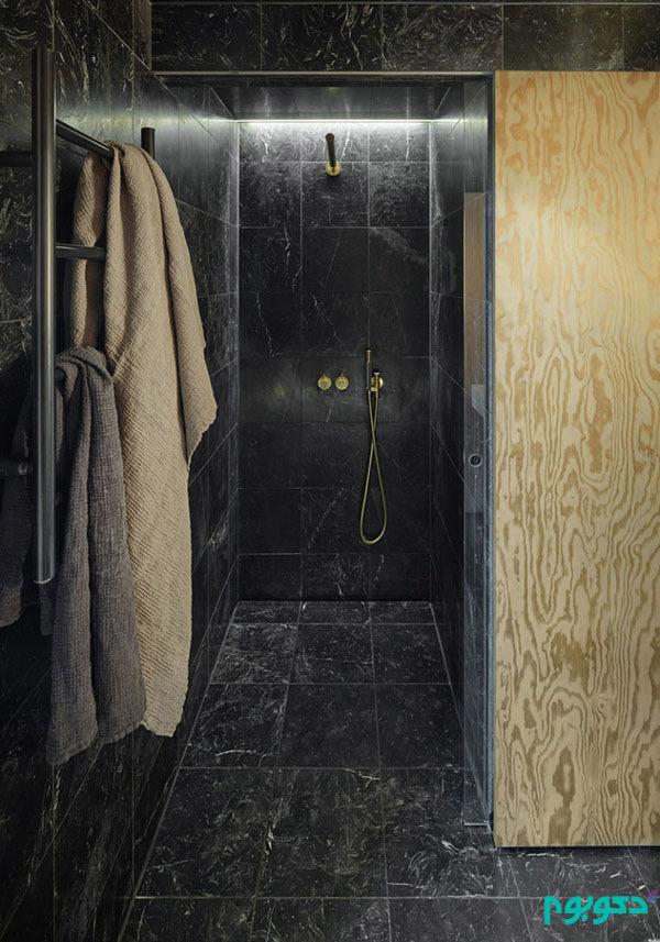 تایل های سرامیکی کوچک در طراحی داخلی حمام