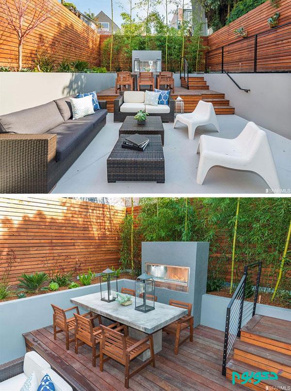 طراحی دکوراسیون حیاط خلوت با ایجاد سطوح مختلف