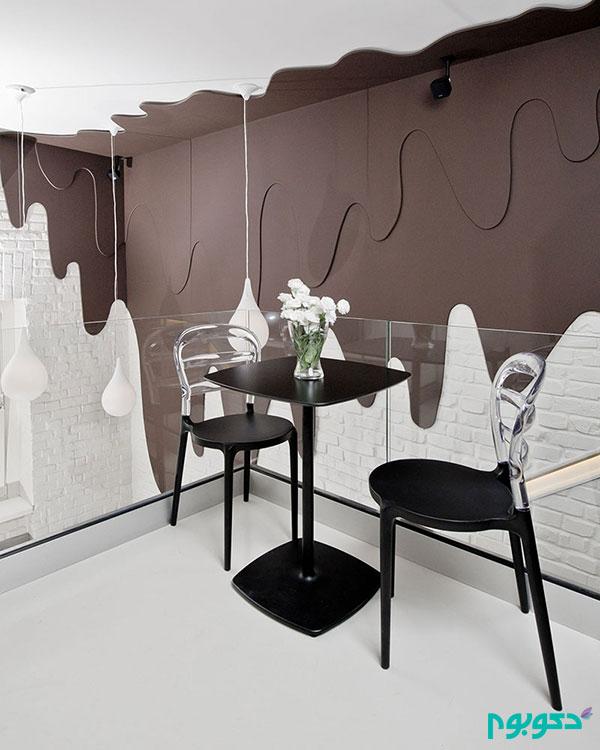 طراحی جالب کافه ای در تلفیق با فروشگاه شکلات