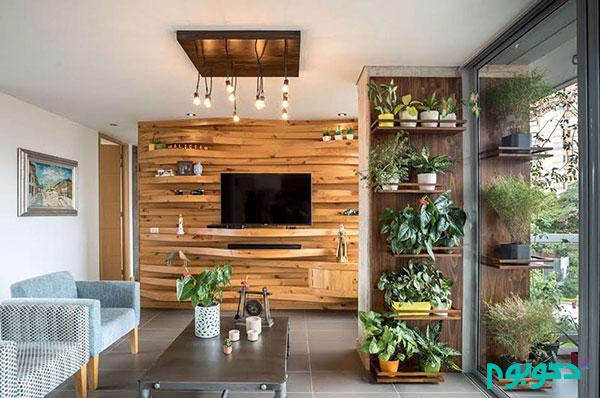 پانل موجدار چوبی ایده ای جذاب برای قرارگیری تلویزیون