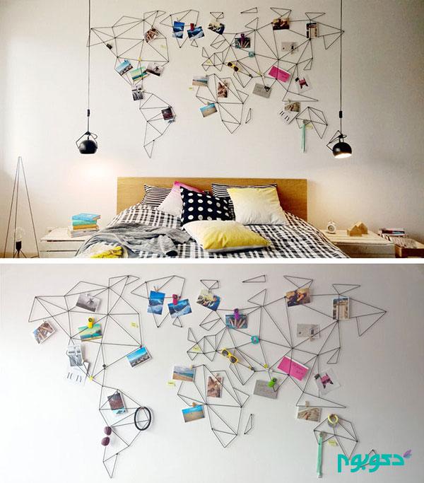 10طرح دیواری زیبا با استفاده از نقشه جهان برای دکور منزل