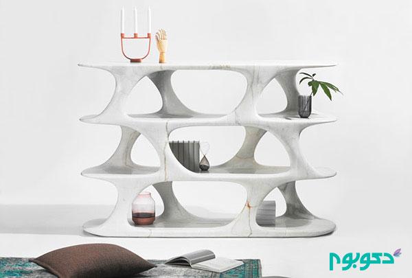 طراحی قفسه هایی منحصر به فرد از سنگ مرمر