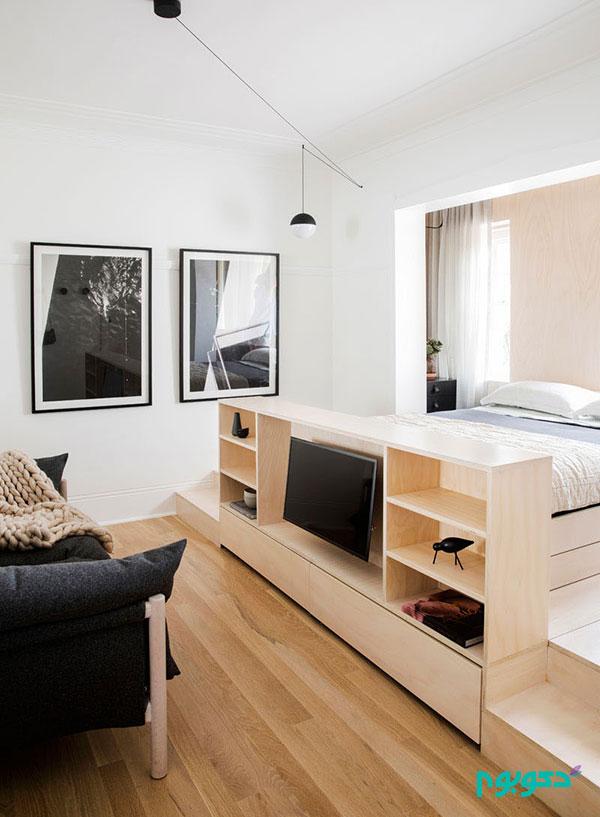 آپارتمانی کوچک پر از راه حل های خلاقانه برای ذخیره سازی
