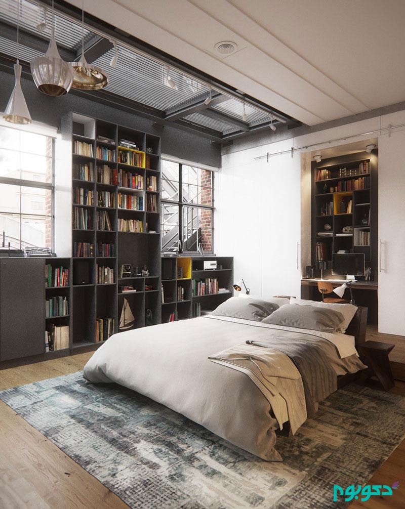 طراحی خاص در اتاق خواب هایی به سبک صنعتی