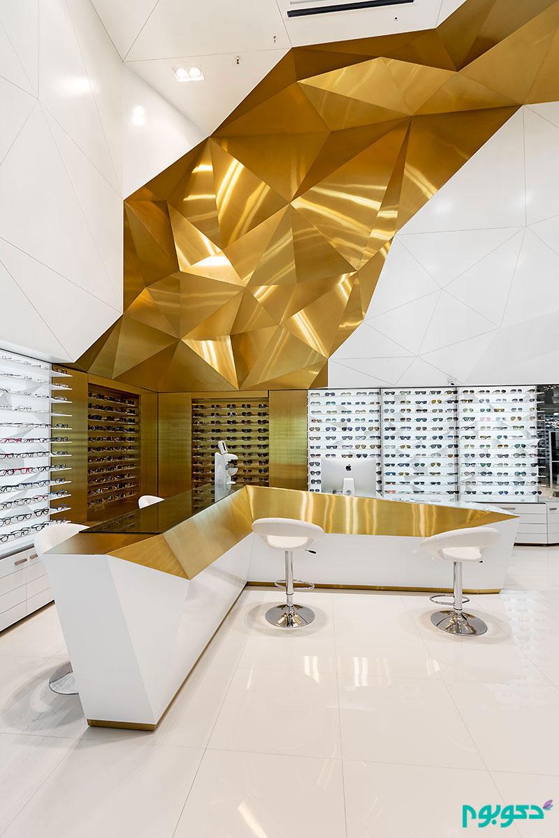 معماری داخلی فروشگاه عینک سام اپتیک در تهران