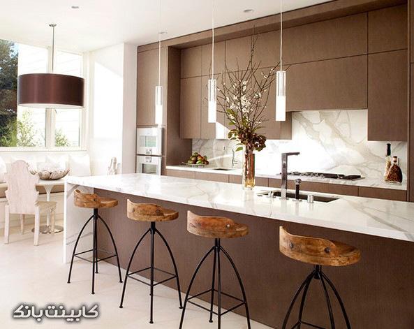 مدل کابینت    کابینت آشپزخانه   دکوراسیون آشپزخانه   کابینت قهوه ای   آشپزخانه متفاوت