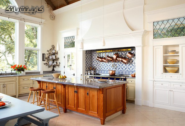 آشپزخانه کلاسیک سفید   آشپزخانه کلاسیک بزرگ  