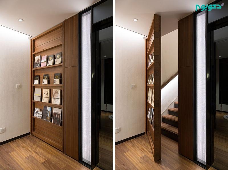 درب مخفی در قالب قفسه کتابی در طراحی داخلی ویلای مدرن