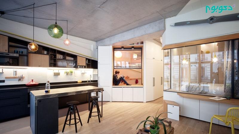 دکوراسیون داخلی آپارتمانی کوچک برای خانواده ۴ نفره