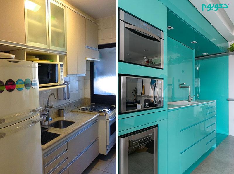 تصاویر قبل و بعد از بازسازی آشپزخانه ای کوچک
