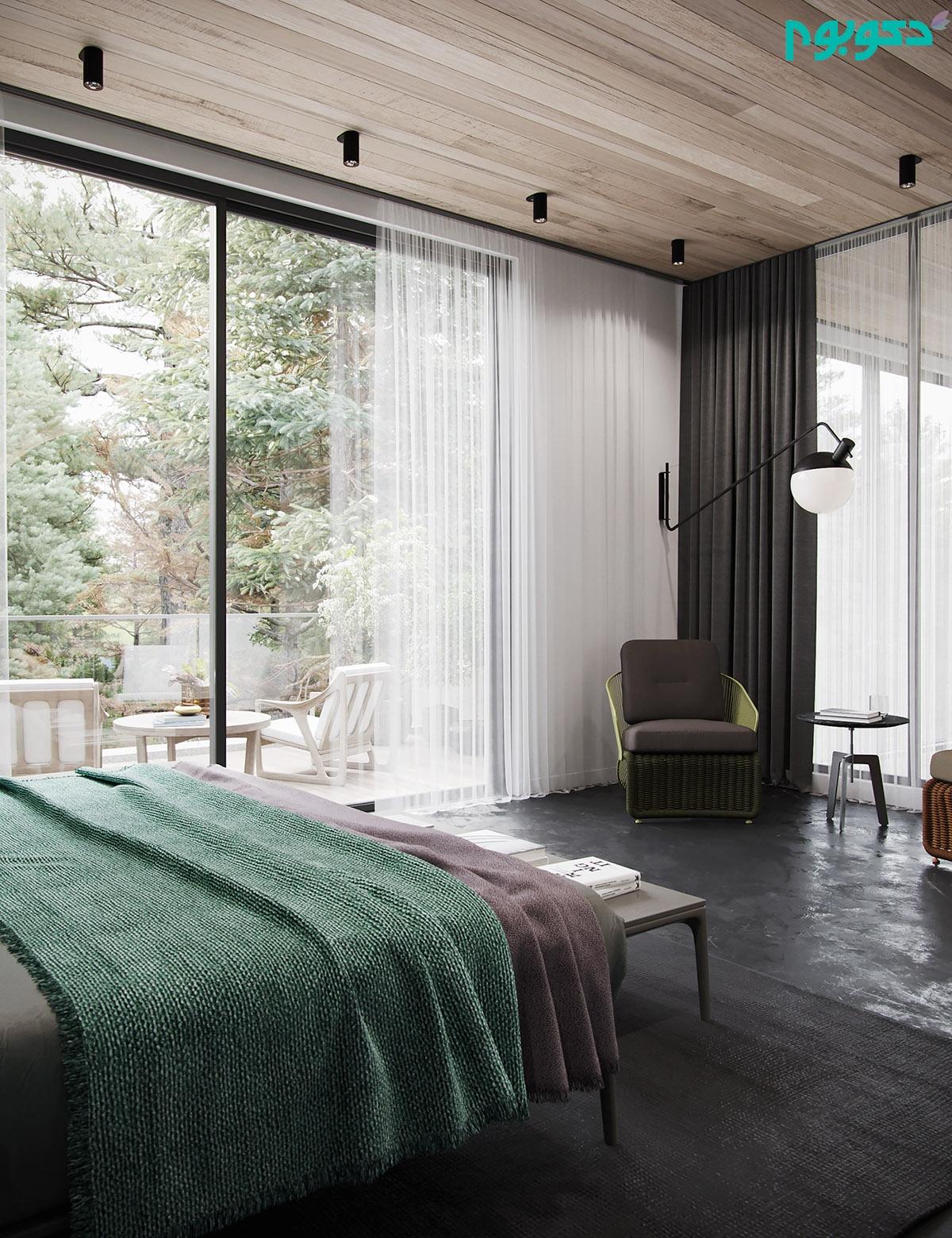اتاق خواب با پنجره بزرگ