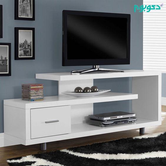 مدل زیر تلویزیونی چوبی سفید