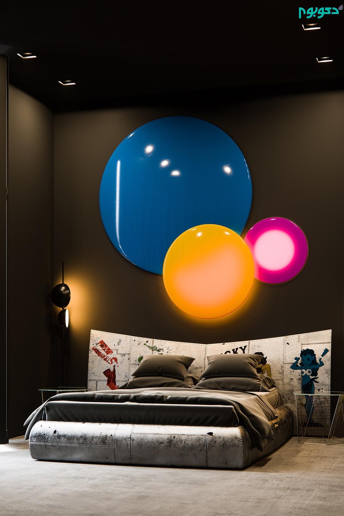 دکوراسیون اتاق خواب با نور رنگی