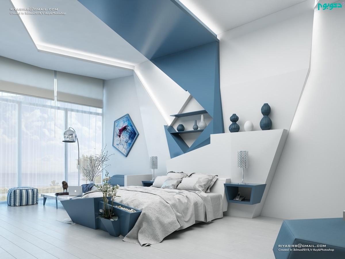 دکوراسیون اتاق خواب سفید وآّبی
