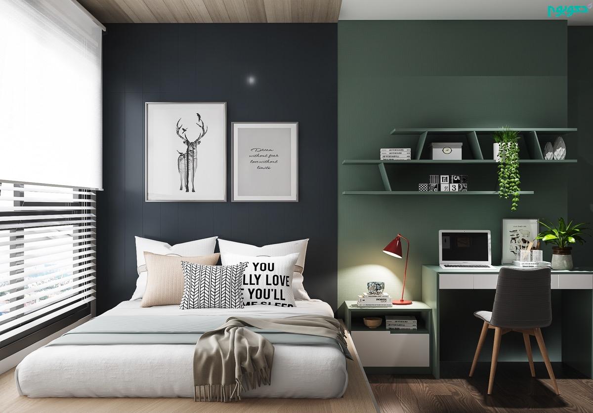 دکوراسیون اتاق خواب دو رنگ
