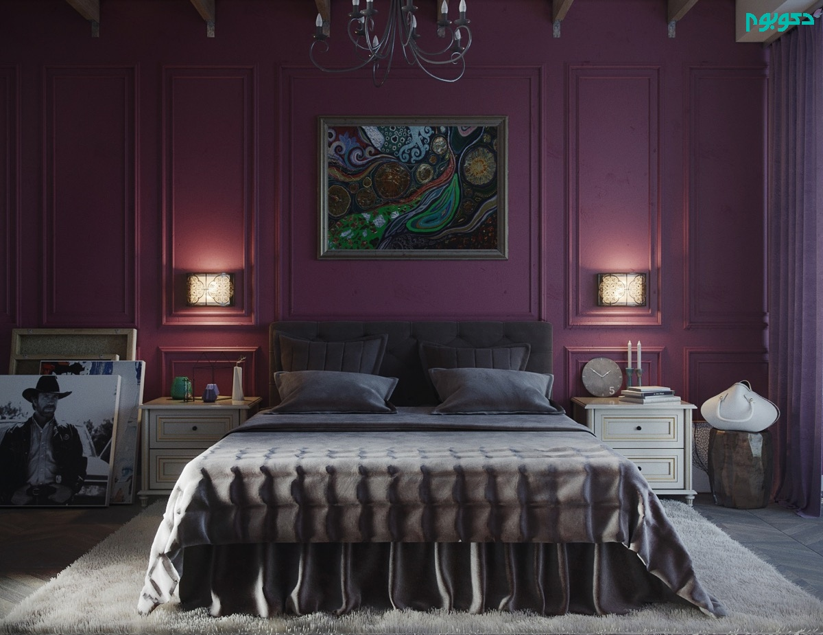 دکوراسیون اتاق خواب بنفش