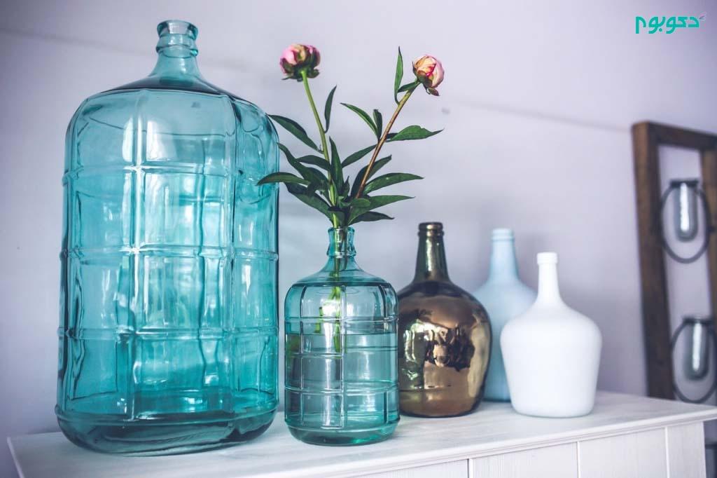 راهنمای تزئین دکوراسیون با ظروف شیشه ای و گلدان ها