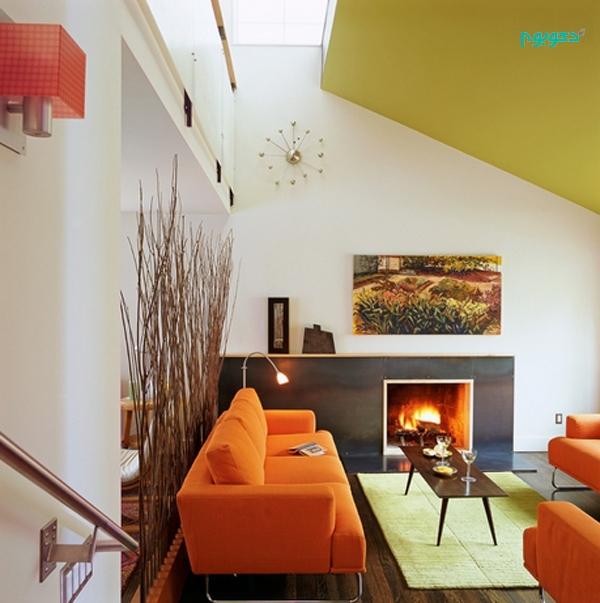 دکوراسیون داخلی 23 نشیمن با رنگ نارنجی