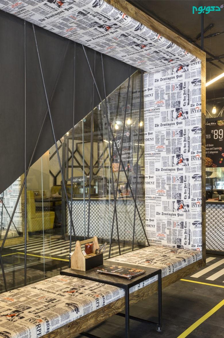 استتفاده از روزنامه در دکوراسیون کافه