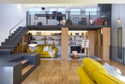 طراحی داخلی خانه ی زیر شیروانی برای یک خانواده