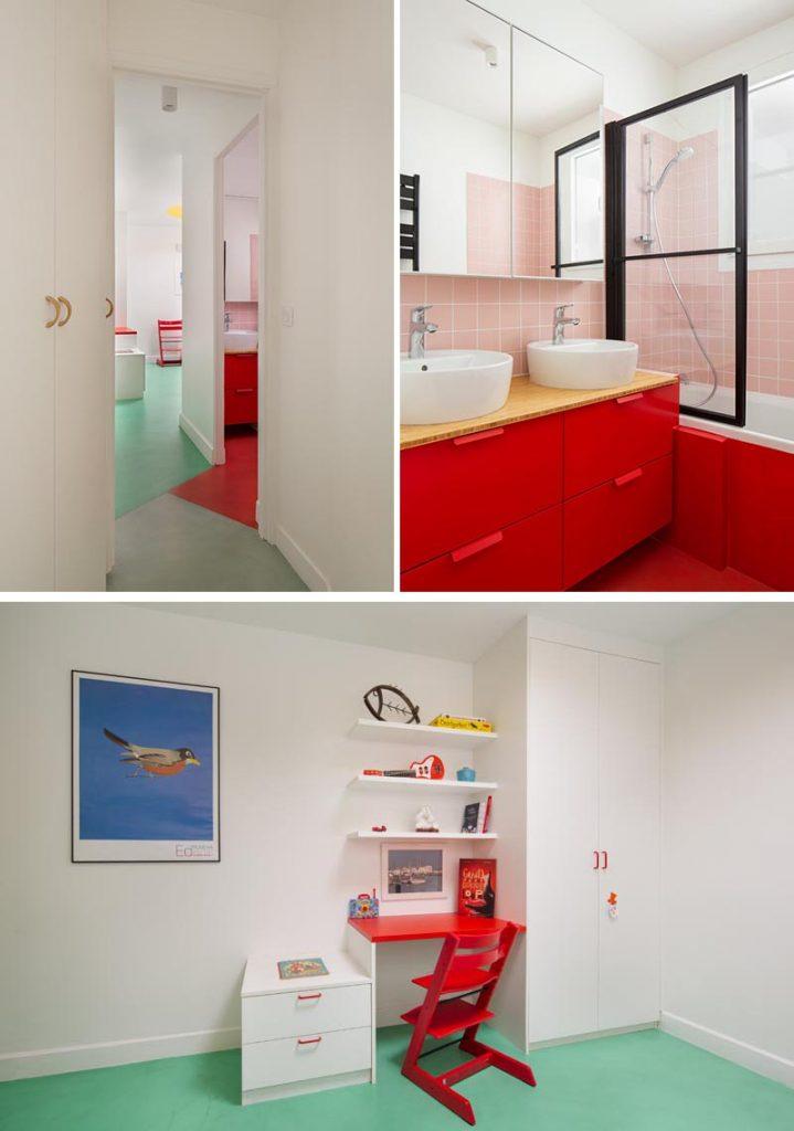 سرویس بهداشتی و حمام با رنگ قرمز