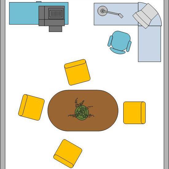 پلان دفتر کار در اتاق ناهارخوری منزل