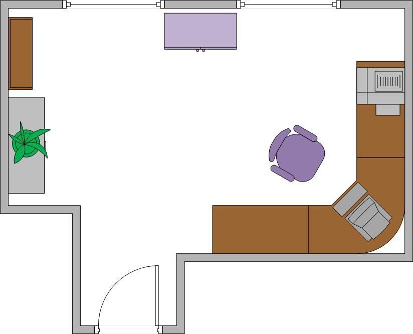 دفتر کار خانگی چیدمان در اتاق T شکل